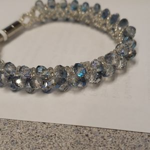 Brand new sterling silver blue and white beaded br
